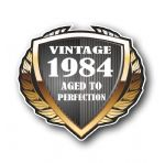1984 Year Dated Vintage Shield Retro Vinyl Car Motorcycle Cafe Racer Helmet Car Sticker 100x90mm